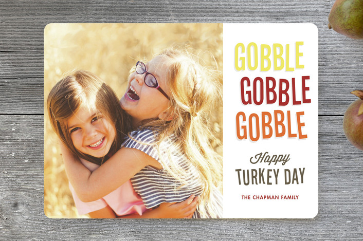 """Gobble Gobble"" - Bold typographic, Modern Thanksgiving Cards in Butternut Squash by Jessie Steury."