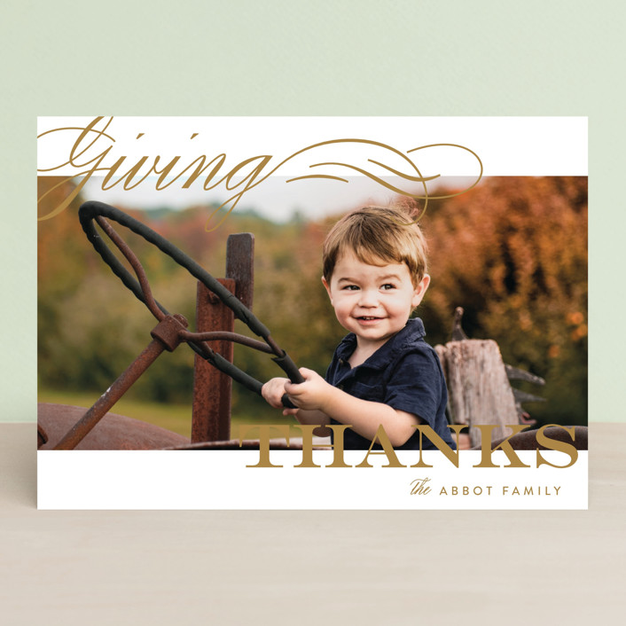 """""""Giving Thanks"""" - Minimalist, Simple Thanksgiving Cards in Golden by Alston Wise."""