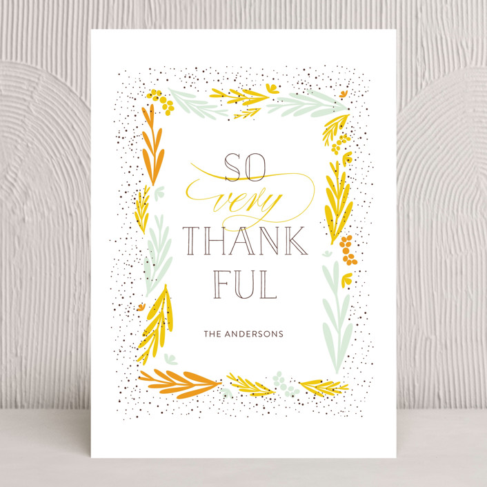 """So Very Thankful 1"" - Thanksgiving Cards in Mustard by Bethany Anderson."