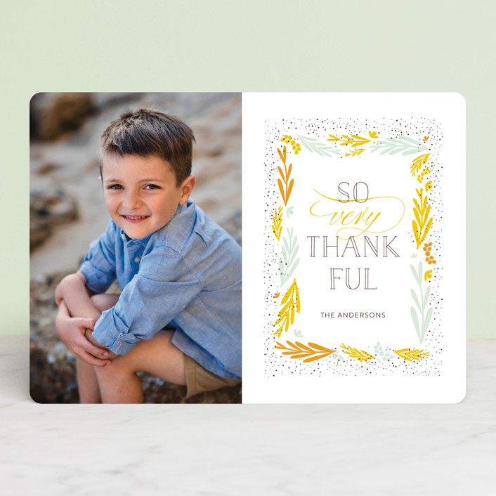 """So Very Thankful 2"" - Thanksgiving Cards in Mustard by Bethany Anderson."