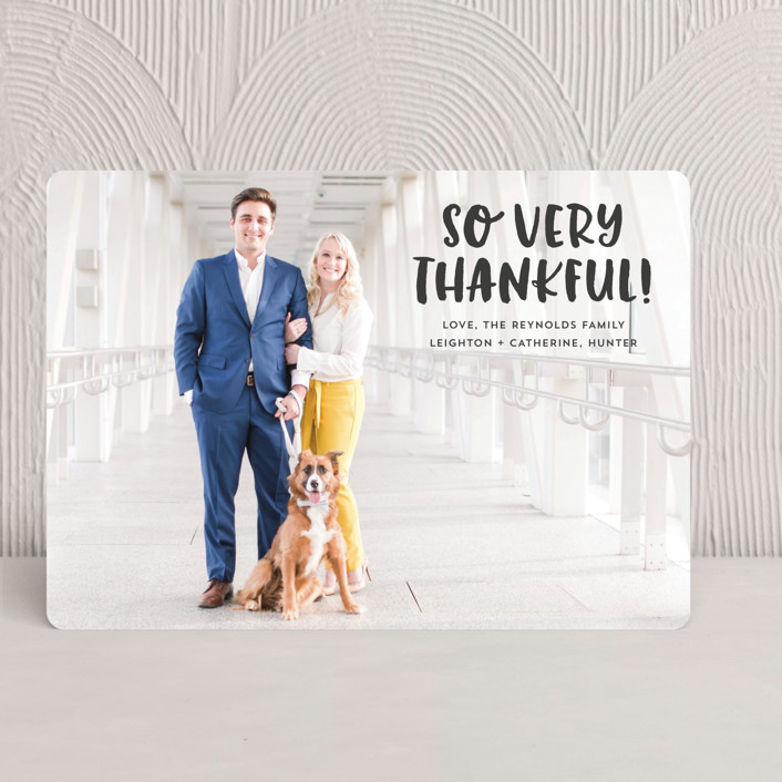 """Very Thankful"" - Elegant Thanksgiving Cards in Coal by Erika Firm."