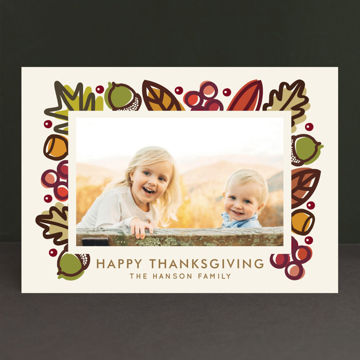 """Autumn Frame"" - Abstract, Modern Thanksgiving Cards in Olive by Faiths Designs."