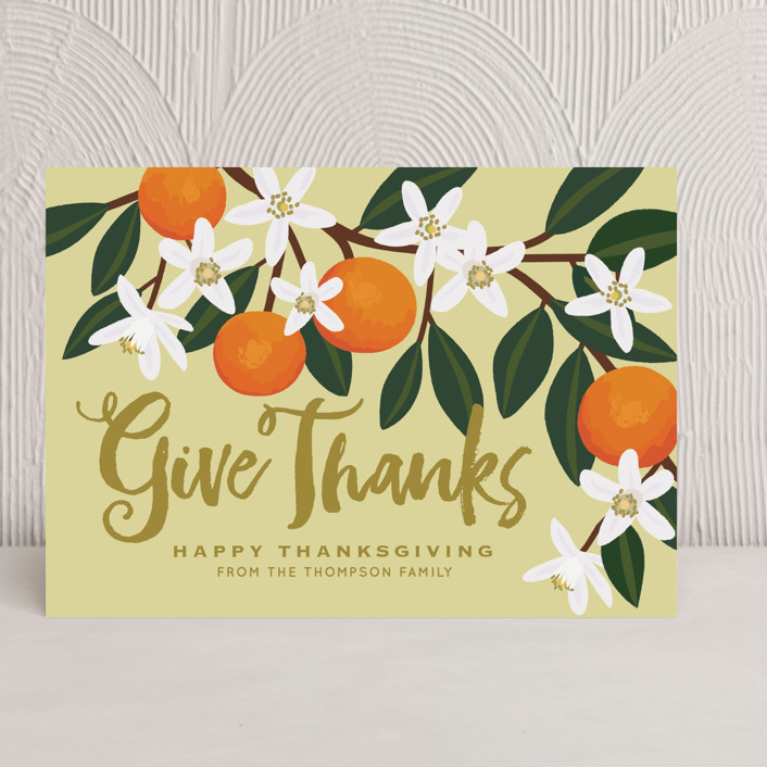 """Orange Blossoms"" - Modern, Bold typographic Thanksgiving Cards in Oyster by Faiths Designs."