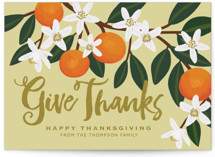 This is a yellow thanksgiving cards invitation by Faiths Designs called Orange Blossoms with standard printing on signature in standard.