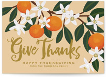 This is a orange thanksgiving cards invitation by Faiths Designs called Orange Blossoms with standard printing on signature in standard.