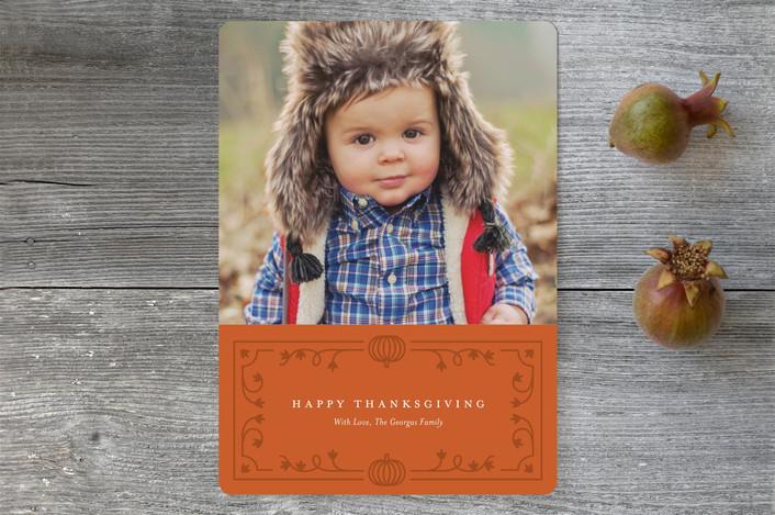 """""""Fine Vine"""" - Elegant Thanksgiving Cards in Sienna by Genna Cowsert."""