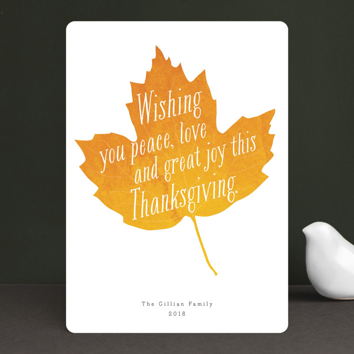 """""""Autumn Leaf"""" - Modern, Whimsical & Funny Thanksgiving Cards in Pumpkin by Jennifer Lew."""