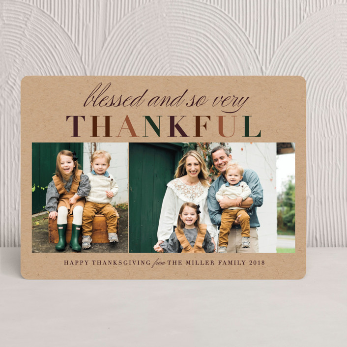 """Very Thankful"" - Rustic/Craft, Modern Thanksgiving Cards in Pumpkin Pie by Jennifer Lew."