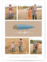 This is a blue thanksgiving cards invitation by Sara Heilwagen called Gilded Thanks with standard printing on smooth signature in standard.
