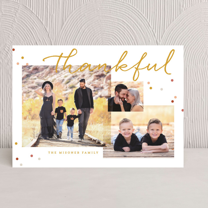 """Thankful Script"" - Typography Thanksgiving Cards in Goldenrod by Keen Peachy."