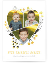 This is a yellow thanksgiving cards invitation by Eve Schultz called Floral Heart with standard printing on smooth signature in standard.