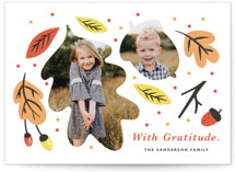 This is a orange thanksgiving cards invitation by Eve Schultz called Little Acorn with standard printing on smooth signature in standard.