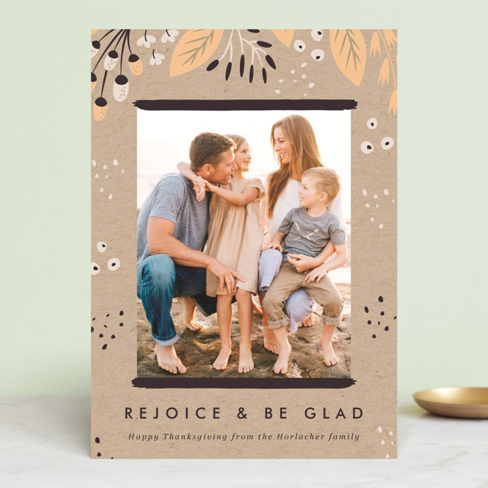"""""""Rejoice and Be Glad"""" - Thanksgiving Cards in Chestnut by Eve Schultz."""