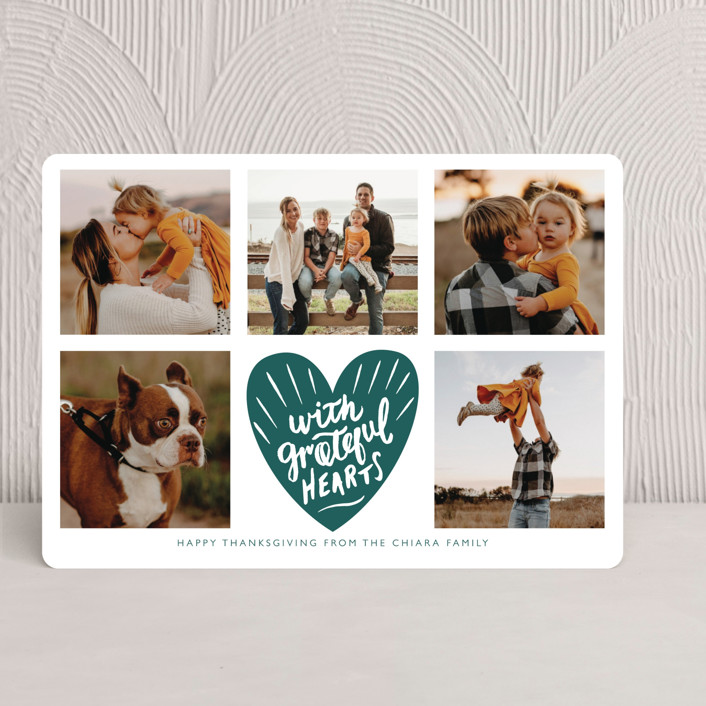 """With Grateful Hearts"" - Bohemian Thanksgiving Cards in Emerald by Eve Schultz."