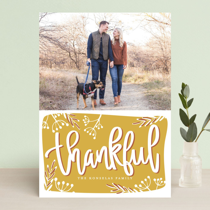 """Thankful Script"" - Thanksgiving Cards in Golden by Faith Dorn."