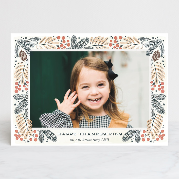 """""""Foliage wreath"""" - Thanksgiving Cards in Persimmon by Ana de Sousa."""