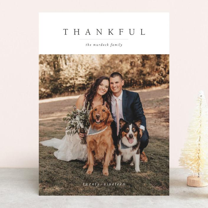 """Minimal Joy"" - Thanksgiving Cards in Coal by Nikkol Christiansen."