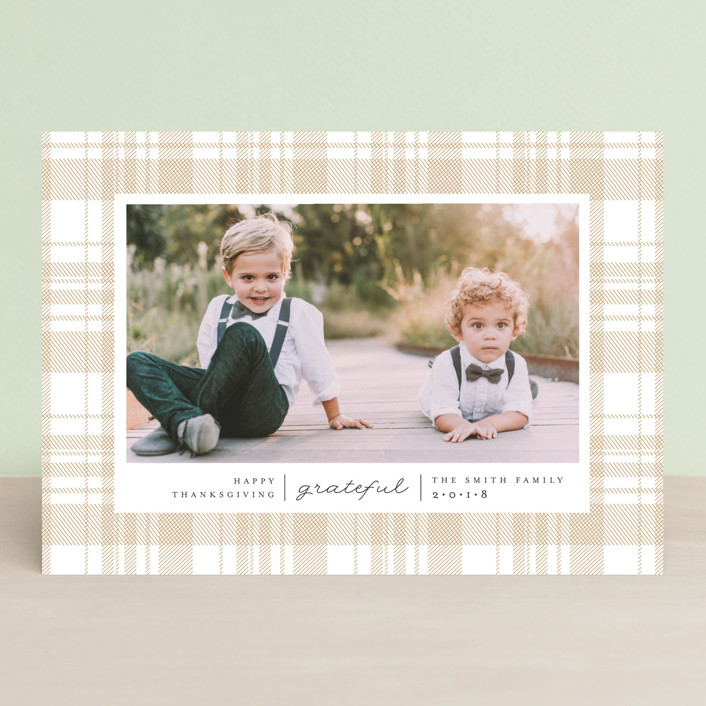 """Grateful Plaid"" - Thanksgiving Cards in Caramel by Carolyn Nicks."