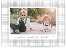 This is a grey thanksgiving cards invitation by Carolyn Nicks called Grateful Plaid with standard printing on smooth signature in standard.