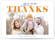 This is a orange thanksgiving cards invitation by Ilze Lucero called Give Thanks Family with standard printing on smooth signature in standard.