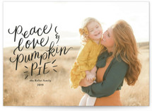 This is a black thanksgiving cards invitation by Jackie Crawford called Peace love pumpkin pie with standard printing on smooth signature in standard.
