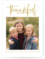 This is a yellow thanksgiving cards invitation by Susan Asbill called We Are Thankful with standard printing on smooth signature in standard.