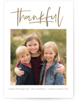 This is a brown thanksgiving cards invitation by Susan Asbill called We Are Thankful with standard printing on smooth signature in standard.