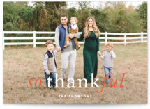 This is a orange thanksgiving cards invitation by Kimberly FitzSimons called Emphasized Thanks with standard printing on smooth signature in standard.