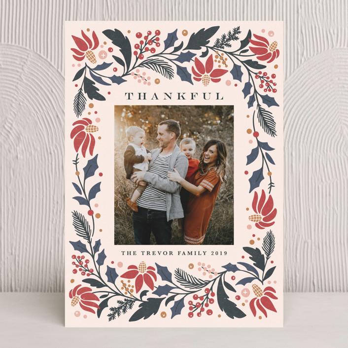 """Rejoice in Florals"" - Thanksgiving Cards in Crimson by Kristen Smith."