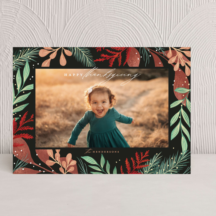 """Foliage Frame"" - Thanksgiving Cards in Holiday by Calluna Fine Paper."