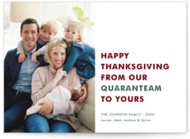 This is a green thanksgiving cards invitation by Toast & Laurel called The Quaranteam with standard printing on smooth signature in standard.