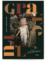 This is a green thanksgiving cards invitation by Annie Clark called Type Around with standard printing on recycled smooth signature in standard.