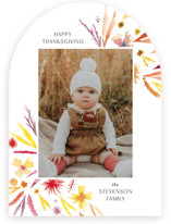This is a colorful thanksgiving cards invitation by Nicoletta Savod called Fall Florals with standard printing on recycled smooth signature in standard.