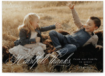 This is a white thanksgiving cards invitation by Corinne Malesic called Heartfelt Script with standard printing on recycled smooth signature in standard.