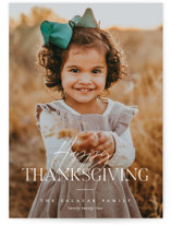 This is a white thanksgiving cards invitation by Pixel and Hank called Thankgiving Classic with standard printing on recycled smooth signature in standard.