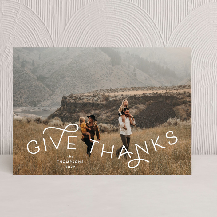 """""""Give Thanks Modern"""" - Thanksgiving Cards in Powder by Kristel Torralba."""