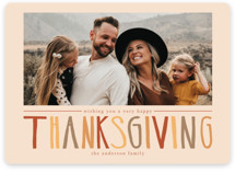 This is a beige thanksgiving cards invitation by Alexandra Hooten called Thanksgiving Hand Lettering with standard printing on recycled smooth signature in standard.
