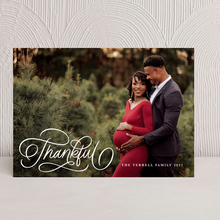 """""""Thankful Scripted"""" - Thanksgiving Cards in Snow by Kristen Smith."""