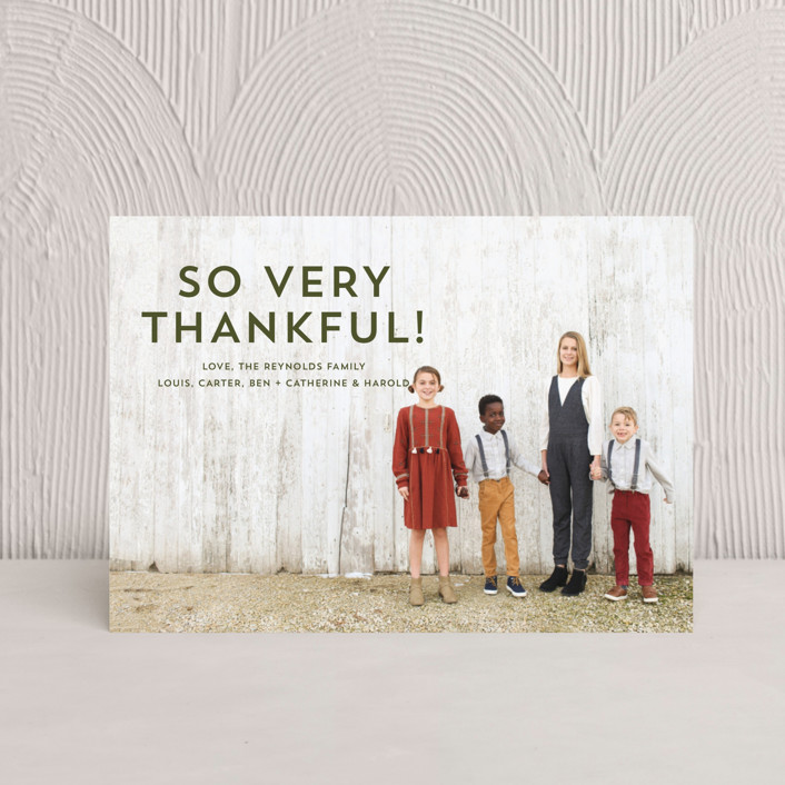 """""""Thankful Kiss"""" - Thanksgiving Postcards in Olive by Erika Firm."""