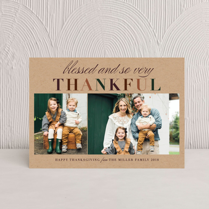 """Very Thankful"" - Rustic/Craft, Modern Thanksgiving Postcards in Pumpkin Pie by Jennifer Lew."