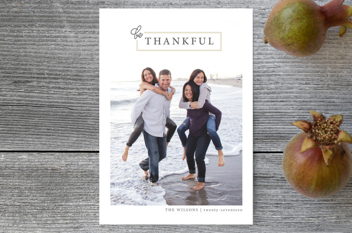 """Be Thankful"" - Modern, Whimsical & Funny Thanksgiving Postcards in Nutmeg by Jula Paper Co.."