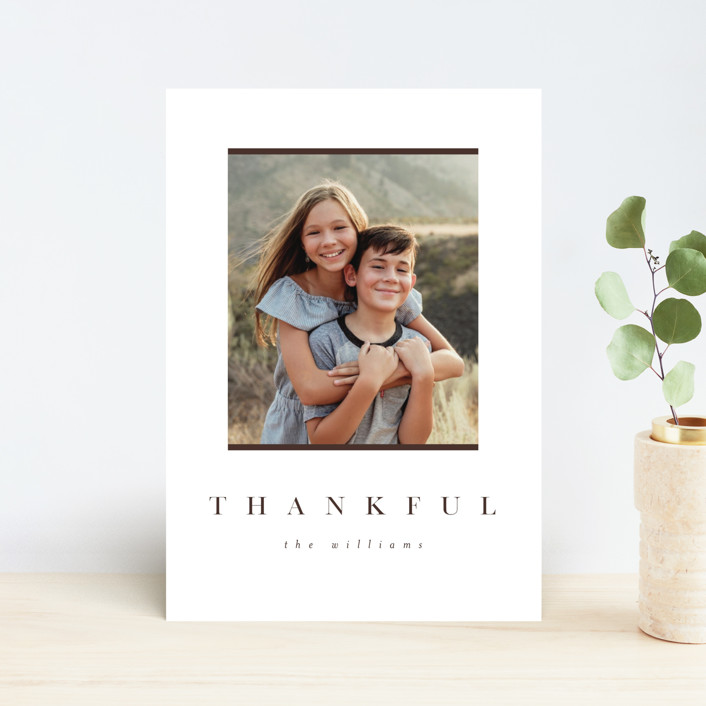"""""""Simple Thankful"""" - Thanksgiving Postcards in Cinnamon by Pixel and Hank."""