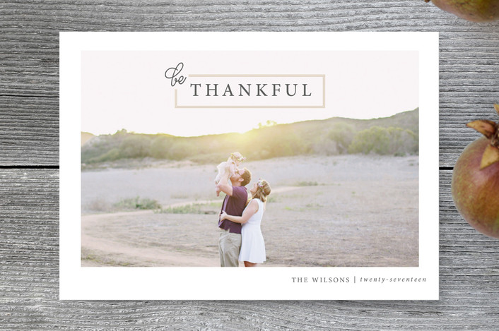 """Be Thankful"" - Full-Bleed Photo, Simple Thanksgiving Postcards in Nutmeg by Jula Paper Co.."