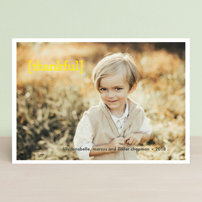 """Thankful"" - Thanksgiving Postcards in Lemon by Sara Hicks Malone."