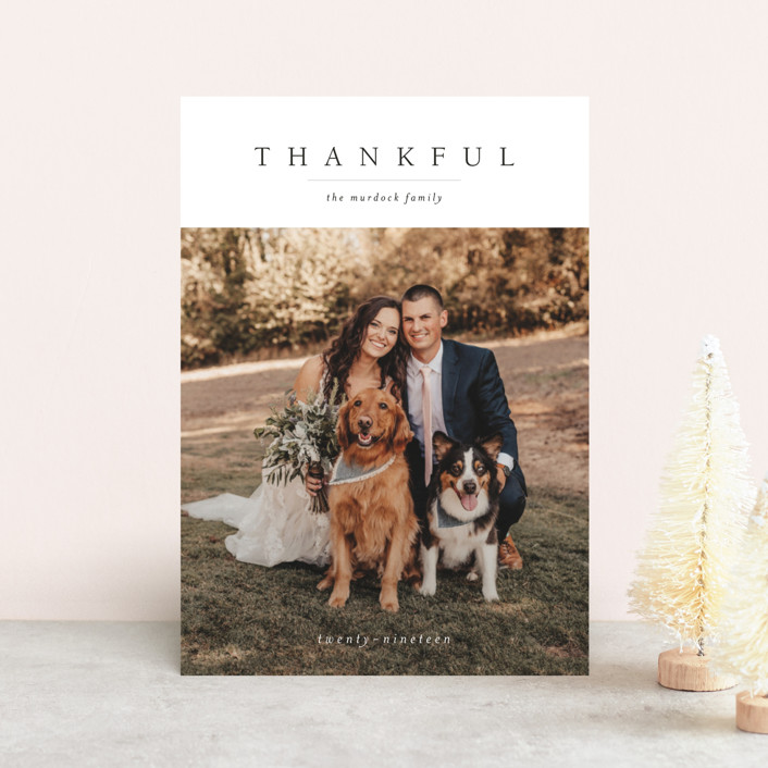 """""""Minimal Joy"""" - Thanksgiving Postcards in Coal by Mere Paper."""