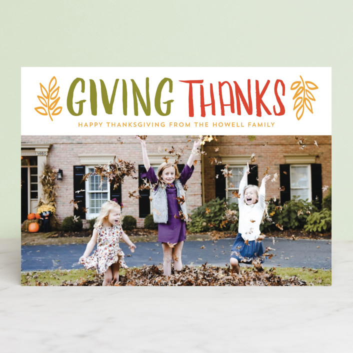 """Thanks"" - Rustic Thanksgiving Postcards in Clementine by lena barakat."