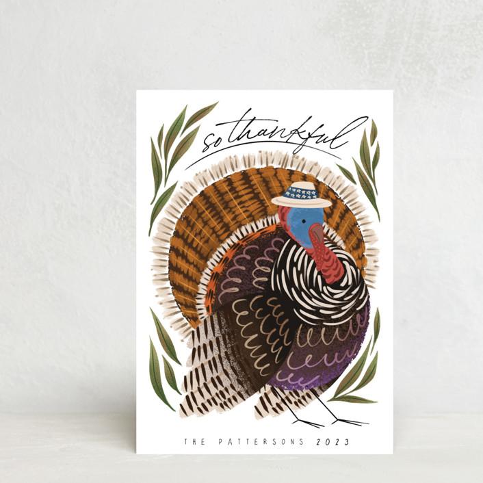 """Thankful Turkey"" - Vintage Thanksgiving Postcards in Grass by Grae."