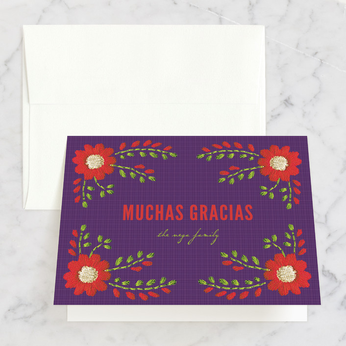 """Mexican Ties"" - Thank You Cards in Grape by Sandy Pons."