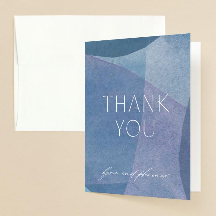 """""""Alchemy"""" - Modern Folded Thank You Card in Deep Sea by Olivia Raufman."""