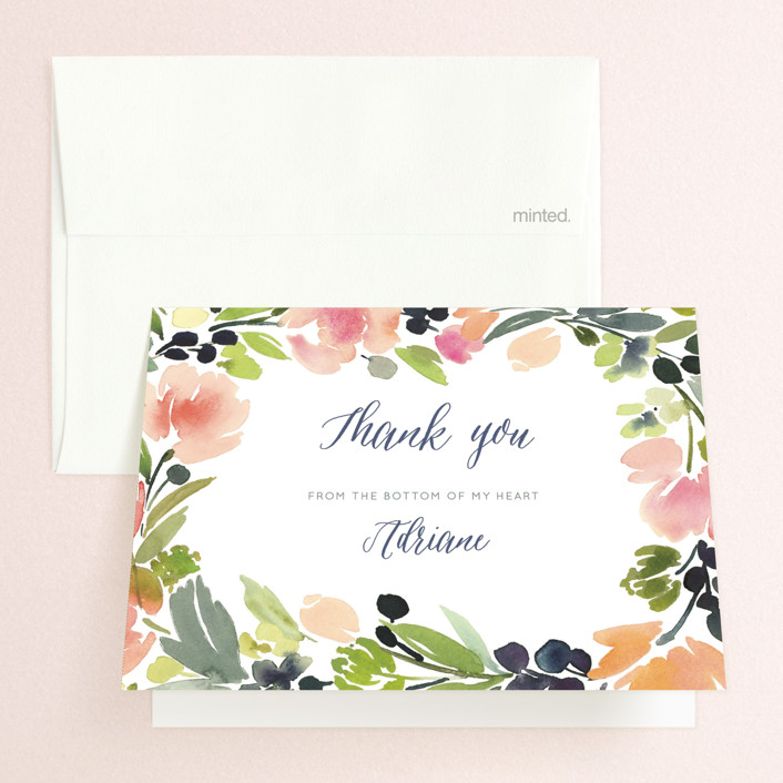 """""""Watercolor Wreath"""" - Folded Thank You Card in Grapefruit by Yao Cheng Design."""